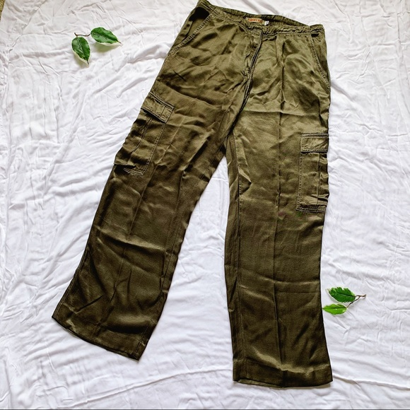 Johnny Was Pants - JOHNNY WAS Olive Green Silky Cargo